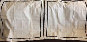 Two Euro Shams & Twin Bedskirt Martha Stewart Collection Ivory Beige Black NWOT