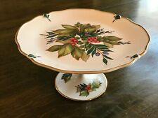 PRINCESS HOUSE Berries Leaves Round Pedestal Porcelain Cake Dessert Plate Stand