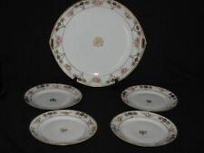 Antique Noritake Nippon 5 Piece Dessert Set w/ Gold Gilding and Roses Plates