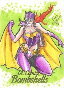2017 Cryptozoic DC Comics Bombshells Jahn Cardoso Sketch card Of Batgirl RARE!