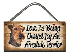 WOODEN SIGN DOG AIREDALE TERRIER PET LOVER  GIFT PRESENT
