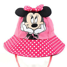 Disney Minnie Mouse Pink Dot Summer Hat Outdoor Beach Cap Kid Girl Children Baby