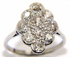 Antiguo Pequeño Mujer 18 Quilates 18ct Oro Blanco Corte de color Rosa Diamante