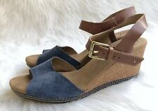 b0ede4a3d49 Women s Clarks  Helio Jet  Brown Blue Suede Leather Wedge Sandals Sz 10M