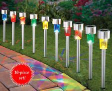 Set of 10 Stainless Steel Multi-Colored Outdoor Garden Path Lights