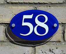 Oval House Number Sign - White on Blue Background - Acrylic Plastic