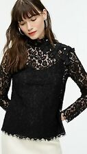 J.Crew Mockneck Top in Floral Lace In Black. NWT, sz.6 Orig$110