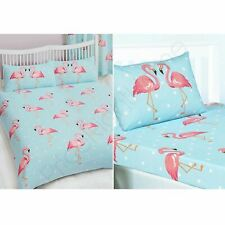 FIFI FLAMINGO DOUBLE DUVET COVER + FITTED SHEET + 4 PILLOWCASES - 6 IN 1 SET