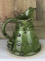 Vintage Heavy Green Glazed Pottery Pitcher 8 Inch Unusual Pattern