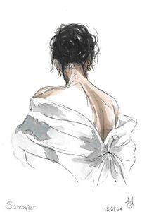 original painting A5 10ShAl art by samovar watercolor modern woman