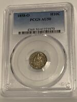 1858-O Seated Half Dime, Tough New Orleans Date in AU, Pleasing Patina PCGS AU50
