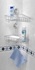 EverLoc Eckregal -2 Etagen- Regal, Badezimmer Eckablage, Ablage, Saugnapf