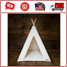 Neutral pet teepee, cushion included, natural fabric colors