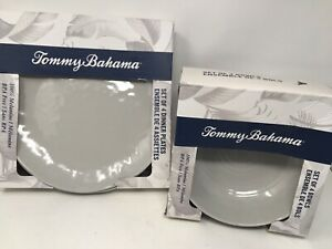 Tommy Bahama Melamine Dinner Plates And Salad Bowls Grey - NEW