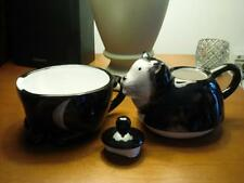 BIG 2 CUP TUXEDO BLACK WHITE CAT KITTEN CERAMIC TEA POT MOTHERS DAY GIFT NEW