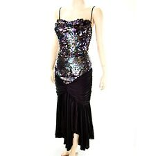 VTG 80s Spangle Sequin MERMAID Jersey Swag Hip Hankie Point Skirt Party Dress M
