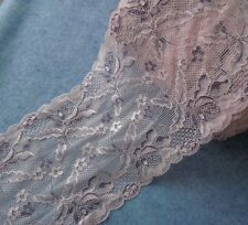 "6 "" Wide Lovely Stretch Baby PInk Lace with Light Violet Flower y0145"