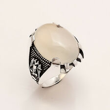 Genuine Yamen AQEEQ Onyx Ottoman Coat of Arms Ring 925 Sterling Silver Jewelry