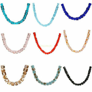 Hot 8mm 25pcs Cube Square Crystal Glass Faceted Loose Spacer Beads DIY Crafts