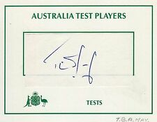 T B A MAY - Signed Sticker on a Crested Card - AUSTRALIA - CRICKET