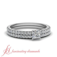 1.15 Ct Princess Cut And Round Diamond Sparkling Float Bridal Rings Pave Set GIA