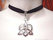 TRIQUETRA HEART BLACK VELVET CHOKER band necklace Celtic knot Silver trinity 1D