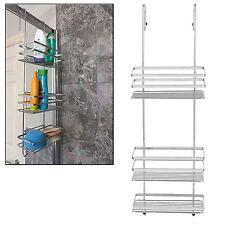3 Tier Large Chrome Over Shower Door Screen Caddy Hanging Storage Tidy Basket