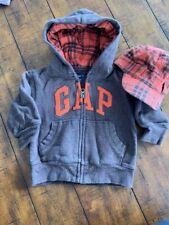 Baby GAP 12-18 Months Hoodie Sweatshirt Brown Orange Plaid BOYS With Hat