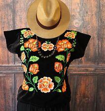 Hand Embroidery Tehuana Mexico Tangerine - Black Velvet Huipil Frida Boho Hippie