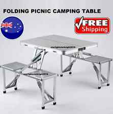 Picnic Camping Table Chairs Set Aluminium Foldable Portable Compact Dining Meals