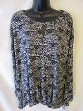 Daisy Fuentes Rayon Size S Black Geometric 3/4 Slve Knit Top SR$44 NEW