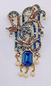 "Heidi Daus "" Blue Sapphire Crystal Art Deco "" Pin NEW"