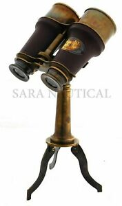 Antique Brass Binocular Leather Grip Binocular With Brass Tripod Spyglass