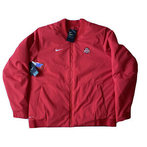Ohio State OSU Buckeyes Nike Shield On-Field Sideline Red Bomber Jacket Men's S