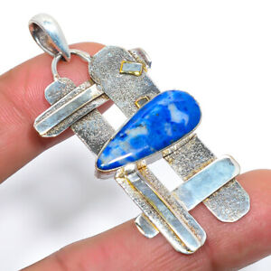 "Lazulite Handmade Textured 925 Sterling Silver Pendant Jewelry 2.3"" M1528"