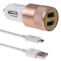 3.1A Doppio USB Caricabatteria carica Auto +Cavo cable Dati Micro USB Universale