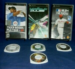 4 PSP; Wipeout Pulse, Thrillville, MLB 08 The Show, Tiger Woods PGA Tour 07, VG