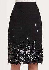 NWT Womens $498 Lafayette 148 New York Black Fully Lined Beaded Skirt Size 2