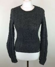 Womens Grey Hollister Cable Knitted Jumper Wool Alpaca Mix Extra Small VERY WORN