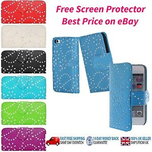 Shiny Leather Cover Case PU Wallet  for iPhone 6, 6 Plus Free Screen Protector