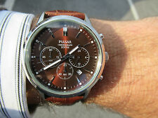 PULSAR BY SEIKO NOS LOVELY METALLIC BROWN CHRONOGRAPH TEXTURED DIAL DATE 43MM