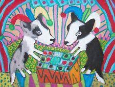 Cardigan Welsh Corgi Jester Playing Checkers Aceo Art Print 2.5x3.5 Signed Ksams