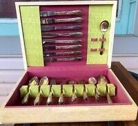 Silver Plate Flatware Rogers Meadow Flower 1940s Silverware Boxed Hostess Set