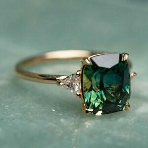 Fashion 18k Gold Rings Women Emerald Wedding Engagement Ring Jewelry Size 6-10