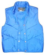 Vtg 70s Down Puffer Vest Royal Blue Puffy Puff Montgomery Ward Size Small 36/38
