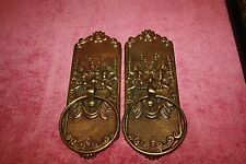 Pair of Vintage Brass dragon Head Face Door Knocker Style Brass / Towel Holder