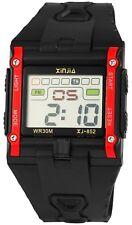 Xinjia Herrenuhr Schwarz Rot Digital Datum Alarm Licht Armbanduhr X-2400002-001