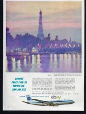 PAN AM 1960 PARIS & EIFFEL TOWER BY BOEING 707 JET CLIPPERS LOWEST FARES AD