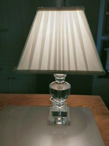 Heavy glass effect table lamp with trapezoid shade