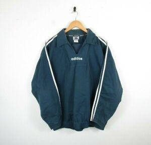 Adidas 90s Vintage Trefoil Drill Top Jacket Sweatshirt Faded Teal Blue | Large